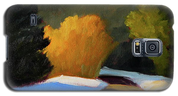 Galaxy S5 Case featuring the painting Golden Light Winter Road by Nancy Merkle