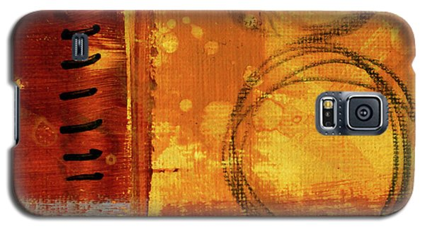 Galaxy S5 Case featuring the painting Golden Marks 10 by Nancy Merkle