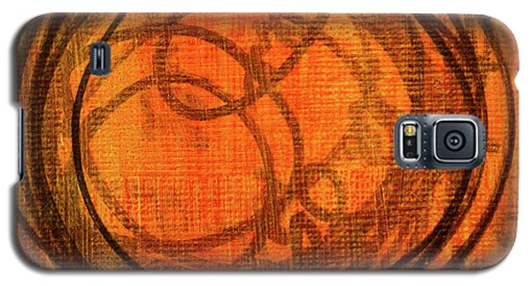Galaxy S5 Case featuring the painting Golden Marks 9 by Nancy Merkle