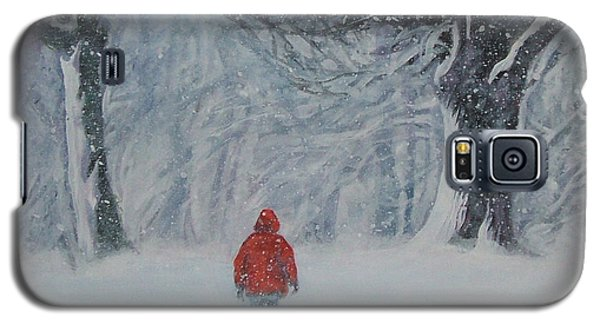 Golden Retriever Winter Walk Galaxy S5 Case