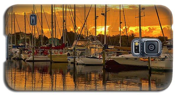 Golden Sailboat Sunrise Over Stuart Marina, Florida Galaxy S5 Case