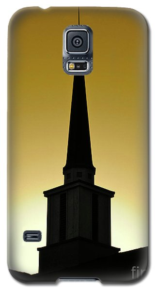 Galaxy S5 Case featuring the photograph Golden Sky Steeple by CML Brown