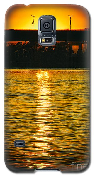 Galaxy S5 Case featuring the photograph Golden Sunset Behind Bridge by Mariola Bitner