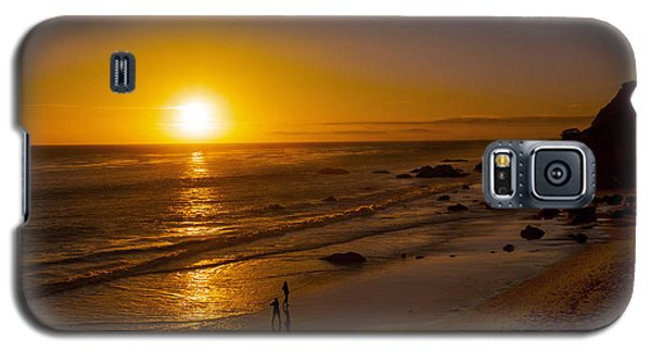 Galaxy S5 Case featuring the photograph Golden Sunset Walk On Malibu Beach by Jerry Cowart