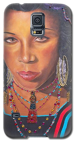 Galaxy S5 Case featuring the painting Golden Wodaabe Girl by Sigrid Tune