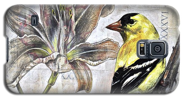 Galaxy S5 Case featuring the painting Goldfinch And Lily by Sheri Howe