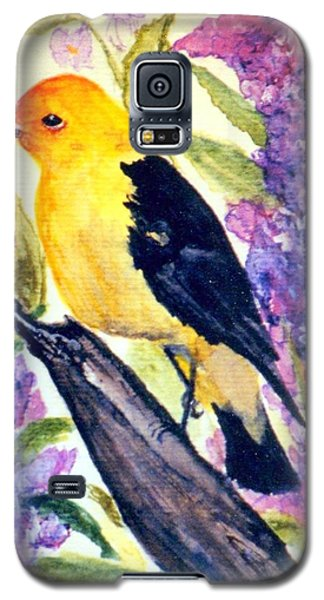 Galaxy S5 Case featuring the painting Goldfinch by Gail Kirtz
