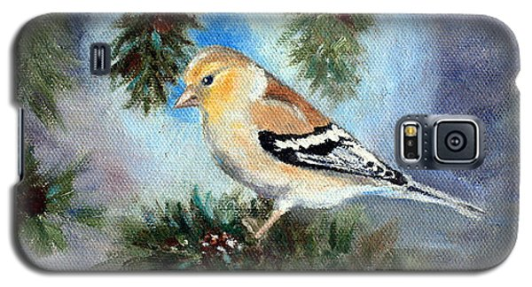 Galaxy S5 Case featuring the painting Goldfinch In A Tree by Brenda Thour