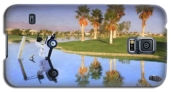 Galaxy S5 Case featuring the photograph Golf Cart Stuck In Water by David Zanzinger