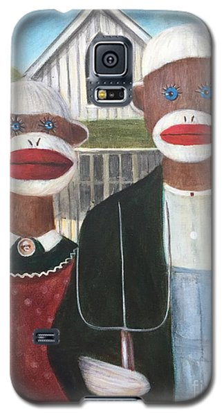 Galaxy S5 Case featuring the painting Gothic American Sock Monkeys by Randol Burns