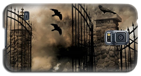 Gothic Surreal Fantasy Ravens Gated Fence  Galaxy S5 Case by Kathy Fornal