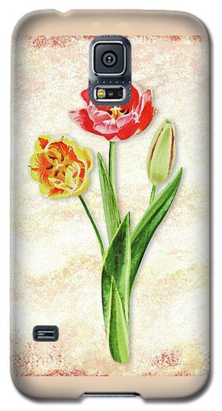 Galaxy S5 Case featuring the painting Graceful Watercolor Tulips by Irina Sztukowski