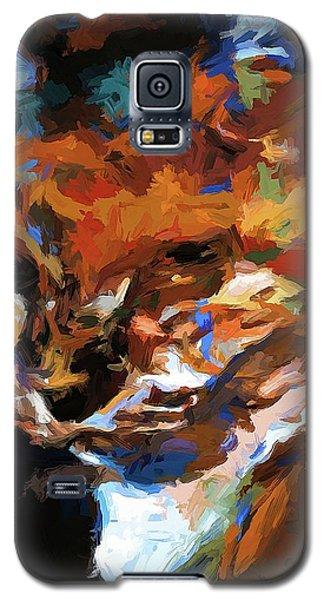 Graffiti Cat Gold Teardrop Blue Galaxy S5 Case