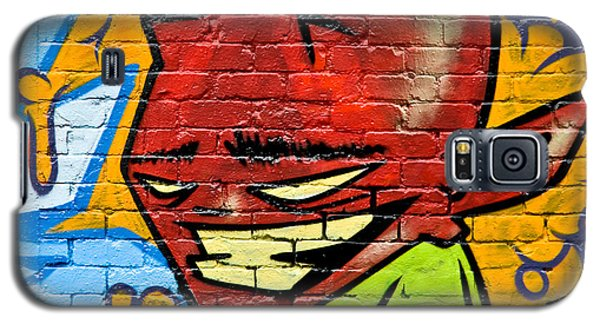 Galaxy S5 Case featuring the painting Graffity Demon On The Textured Brick Wall by Yurix Sardinelly
