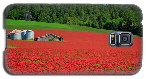 Grain Bins Barn Red Clover Galaxy S5 Case by Jerry Sodorff