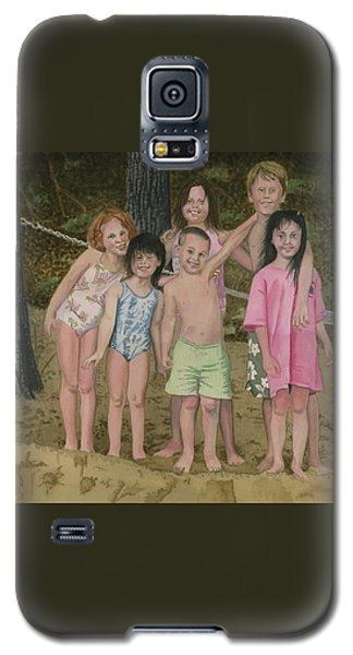 Galaxy S5 Case featuring the painting Grandkids On The Beach by Ferrel Cordle