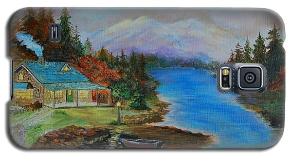 Galaxy S5 Case featuring the painting Grandmas Cabin by Leslie Allen