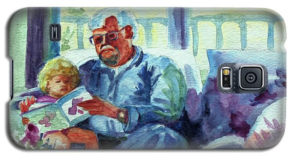 Galaxy S5 Case featuring the painting Grandpa Reading by Kathy Braud