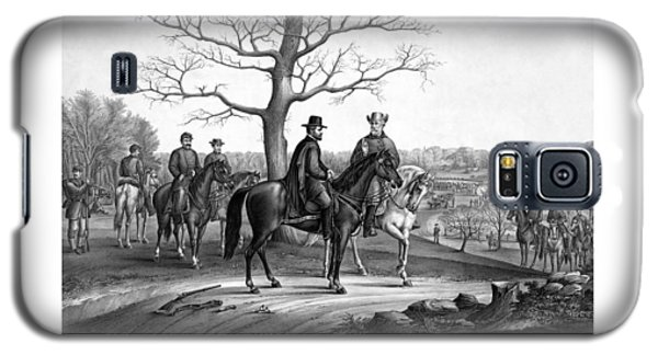 Galaxy S5 Case featuring the mixed media Grant And Lee At Appomattox by War Is Hell Store