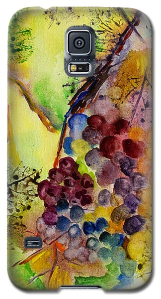 Galaxy S5 Case featuring the painting Grapes And Leaves IIi by Karen Fleschler