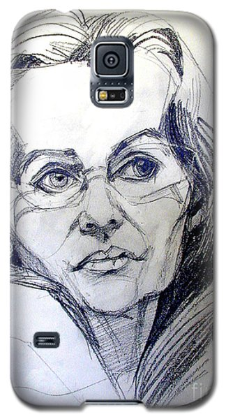 Galaxy S5 Case featuring the drawing Graphite Portrait Sketch Of A Woman With Glasses by Greta Corens