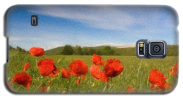 Galaxy S5 Case featuring the photograph Grassland And Red Poppy Flowers by Jean Bernard Roussilhe