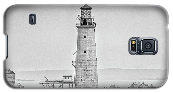 Galaxy S5 Case featuring the photograph Graves Lighthouse- Boston, Ma - Black And White by Peter Ciro