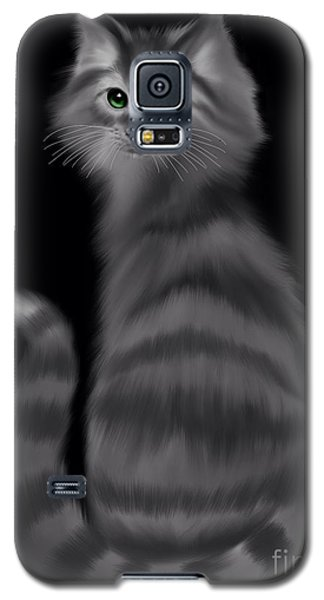 Galaxy S5 Case featuring the painting Gray Striped Cat by Nick Gustafson