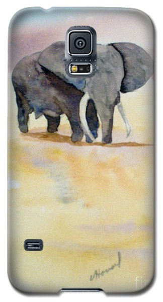 Galaxy S5 Case featuring the painting Great African Elephant  by Vicki  Housel