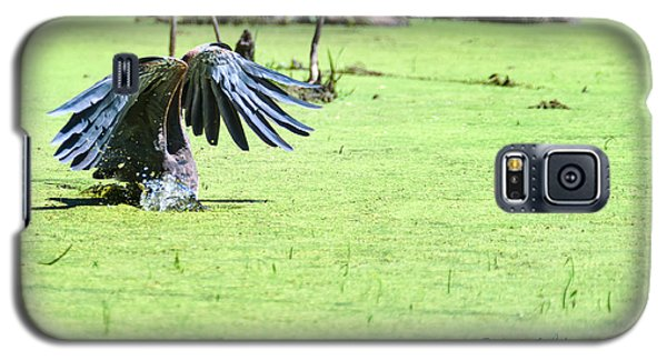 Galaxy S5 Case featuring the photograph Great Blue Heron Dunk by Edward Peterson
