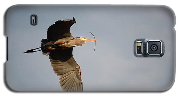 Galaxy S5 Case featuring the photograph Great Blue Heron In Flight by Ann Bridges