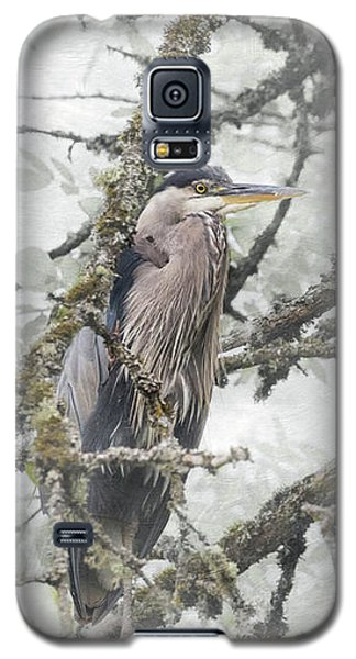 Galaxy S5 Case featuring the photograph Great Blue Heron In Tree by Angie Vogel