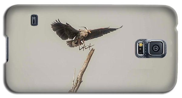 Galaxy S5 Case featuring the photograph Great Blue Heron Landing by David Bearden