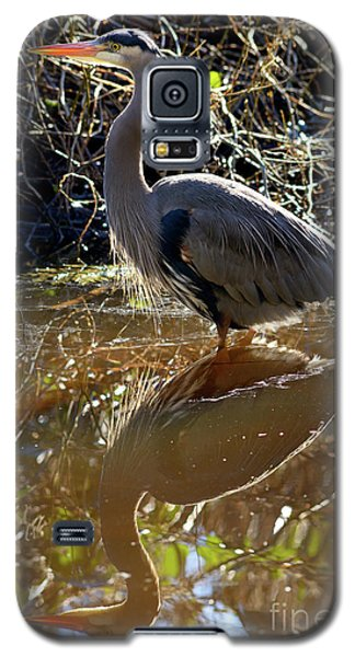 Galaxy S5 Case featuring the photograph Great Blue Heron Reflection by Terry Elniski