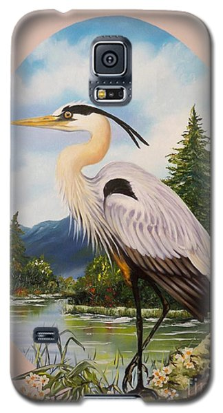 Galaxy S5 Case featuring the painting Great Blue Heron by Sigrid Tune