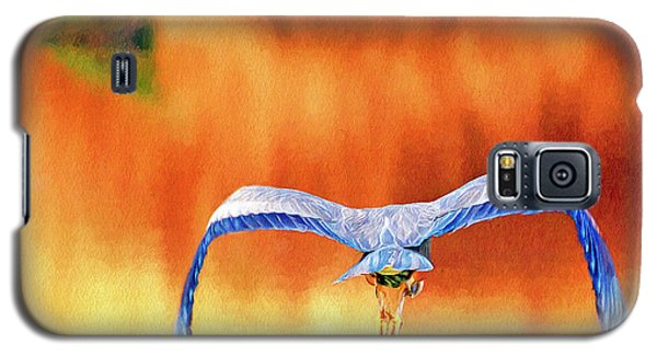 Galaxy S5 Case featuring the digital art Great Blue Heron Winging It Photo Art by Sharon Talson