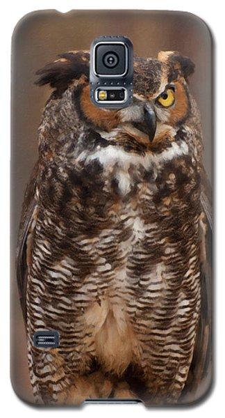 Great Horned Owl Digital Oil Galaxy S5 Case by Chris Flees