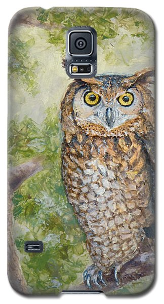 Galaxy S5 Case featuring the painting Great Horned Owl by Joe Bergholm