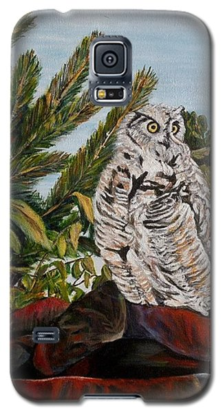 Galaxy S5 Case featuring the painting Great Horned Owl - Owl On The Rocks by Marilyn  McNish