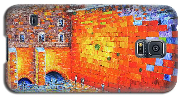 Galaxy S5 Case featuring the painting Wailing Wall Greatness In The Evening Jerusalem Palette Knife Painting by Georgeta Blanaru
