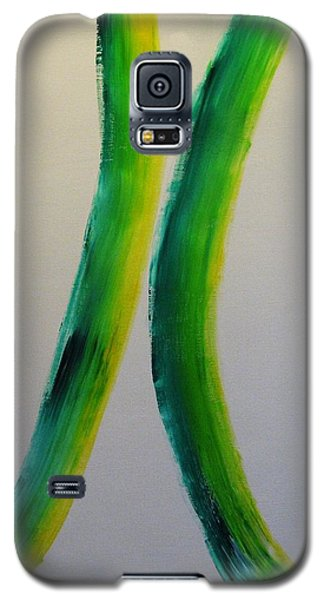 Galaxy S5 Case featuring the painting Green And Yellow by Barbara Yearty