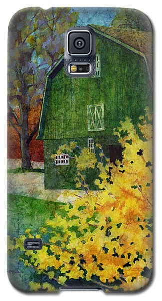 Galaxy S5 Case featuring the painting Green Barn by Hailey E Herrera