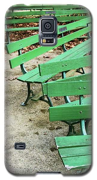 Green Benches- Fine Art Photo By Linda Woods Galaxy S5 Case by Linda Woods