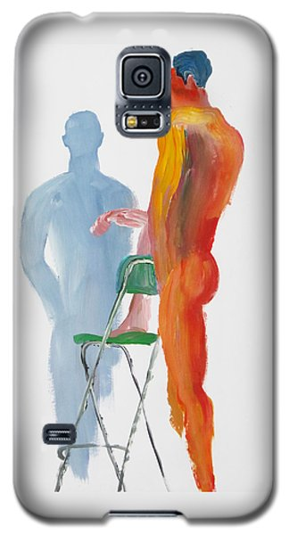 Galaxy S5 Case featuring the painting Green Chair Blue Shadow by Shungaboy X