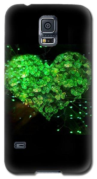Green Clover Heart Galaxy S5 Case