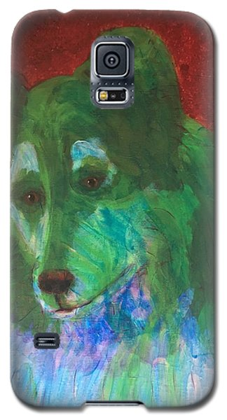 Galaxy S5 Case featuring the painting Green Collie by Donald J Ryker III