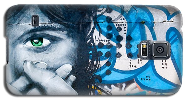 Galaxy S5 Case featuring the painting Green-eye Graffiti Girl On The Brick Wall by Yurix Sardinelly
