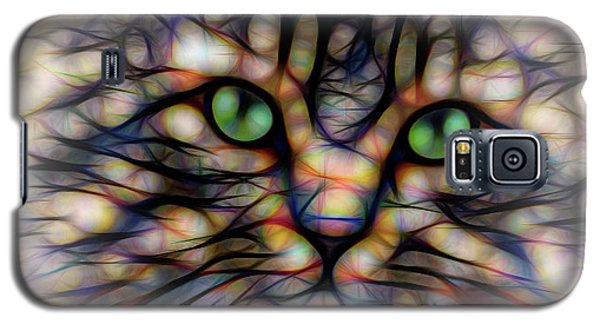 Galaxy S5 Case featuring the digital art Green Eye Kitty Square by Terry DeLuco