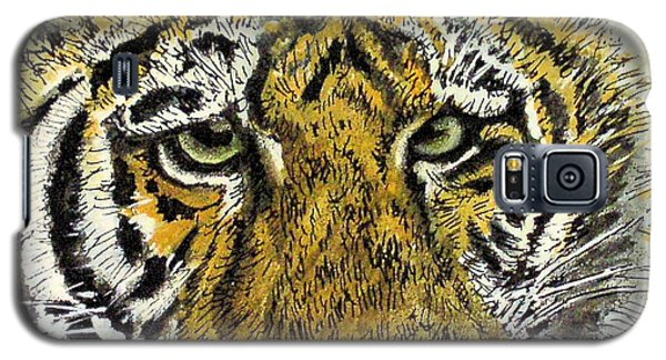 Galaxy S5 Case featuring the painting Green Eyed Tiger by Laurie Rohner