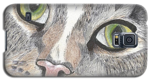 Galaxy S5 Case featuring the drawing Green Eyes by Arlene Crafton